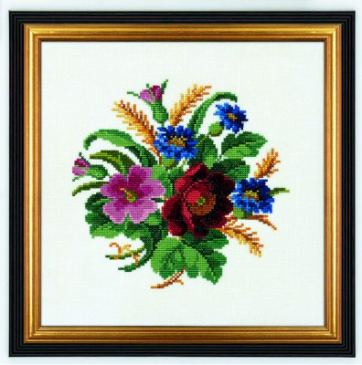 click here to view larger image of Cornflower and Poppy (26ct) (counted cross stitch kit)
