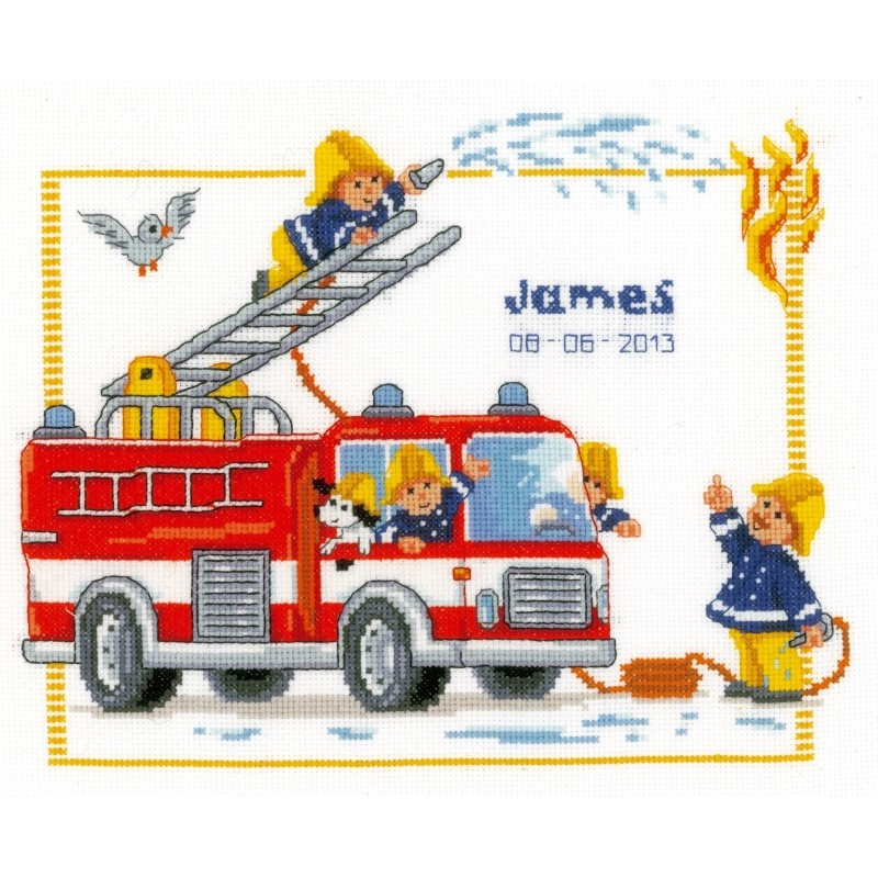click here to view larger image of Fire Engine Birth Record (counted cross stitch kit)