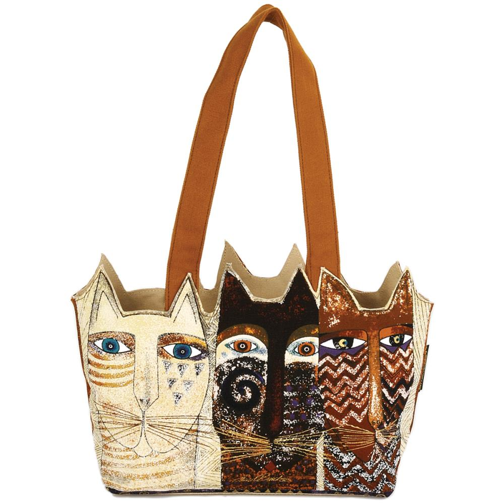 click here to view larger image of Ancestral Cats - Medium Tote Zipper Top (accessory)