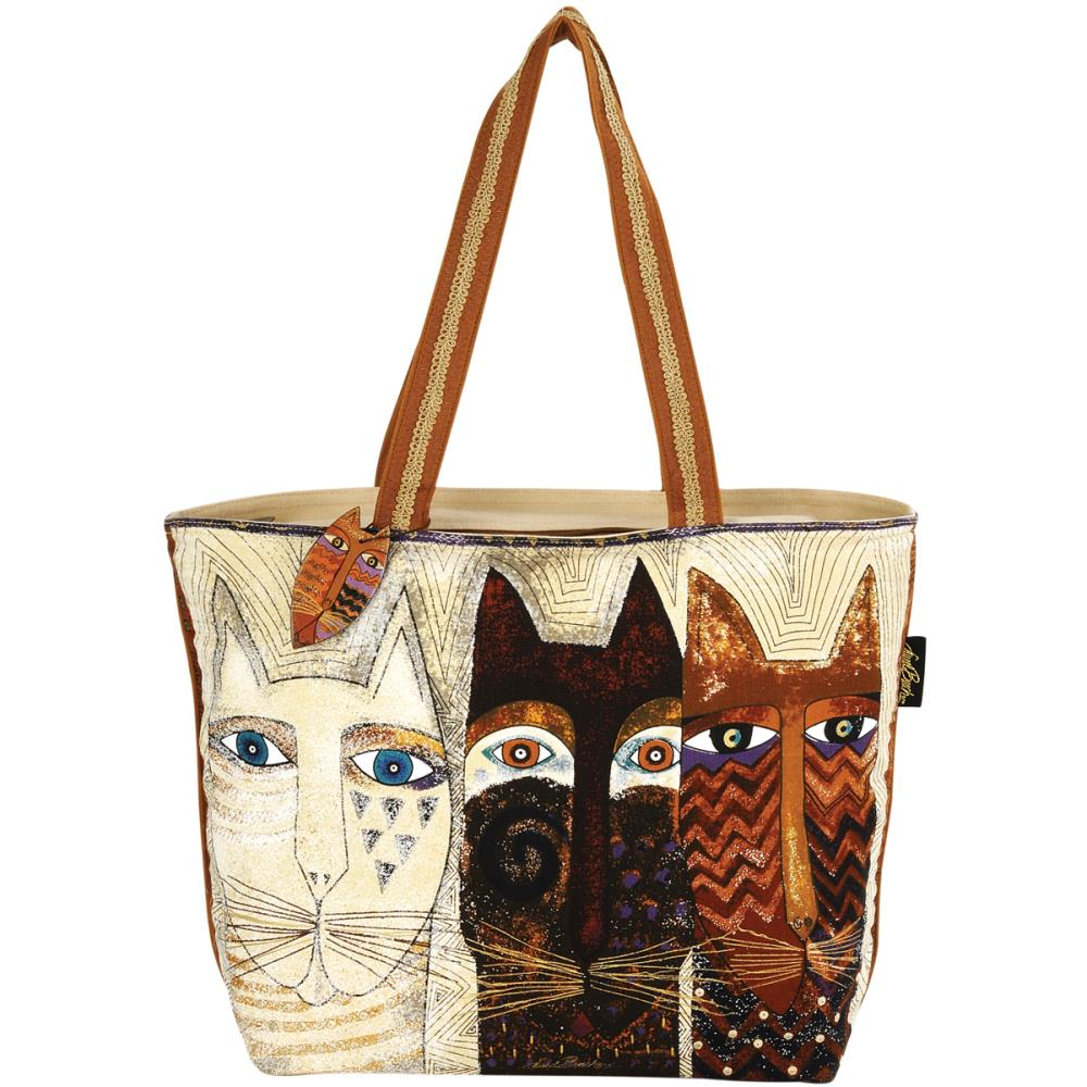 click here to view larger image of Ancestral Cats - Shoulder Tote Zipper Top (accessory)