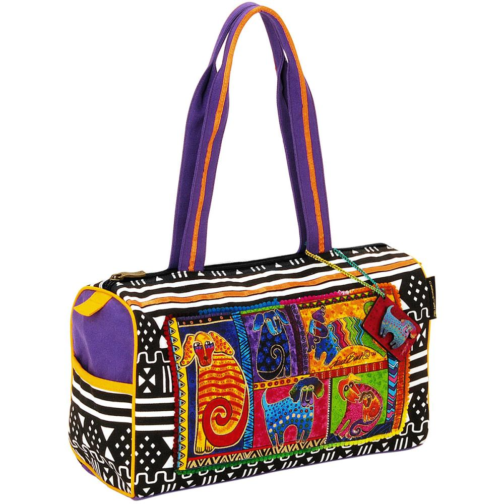 click here to view larger image of Dog Tails Patchwork - Medium Satchel Zipper Top (accessory)