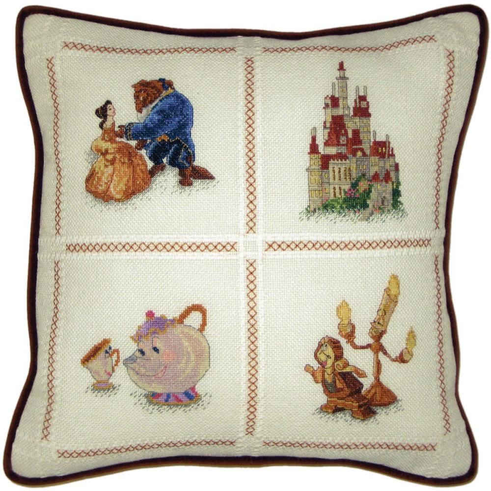 click here to view larger image of Beauty and The Beast Pillow (counted cross stitch kit)