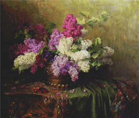 click here to view larger image of A Still Life With Lilacs and Violets on a Draped Guilt Rococo Table (chart)
