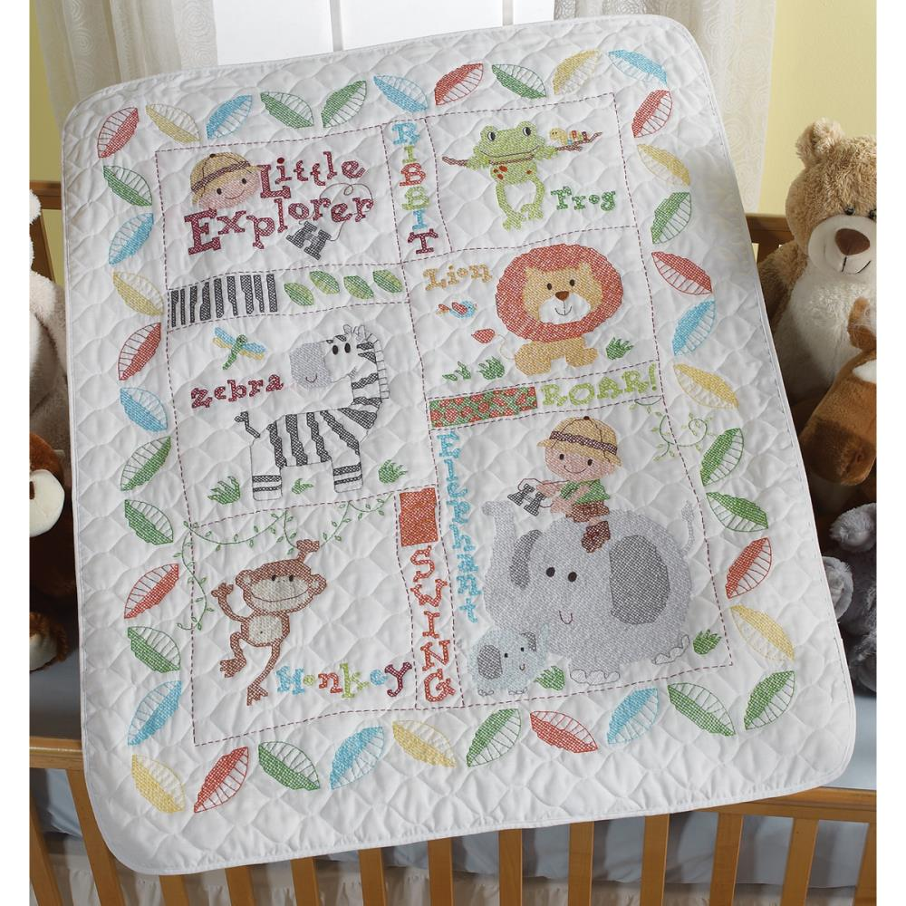 click here to view larger image of Little Explorer Stamped Crib Cover (counted cross stitch kit)