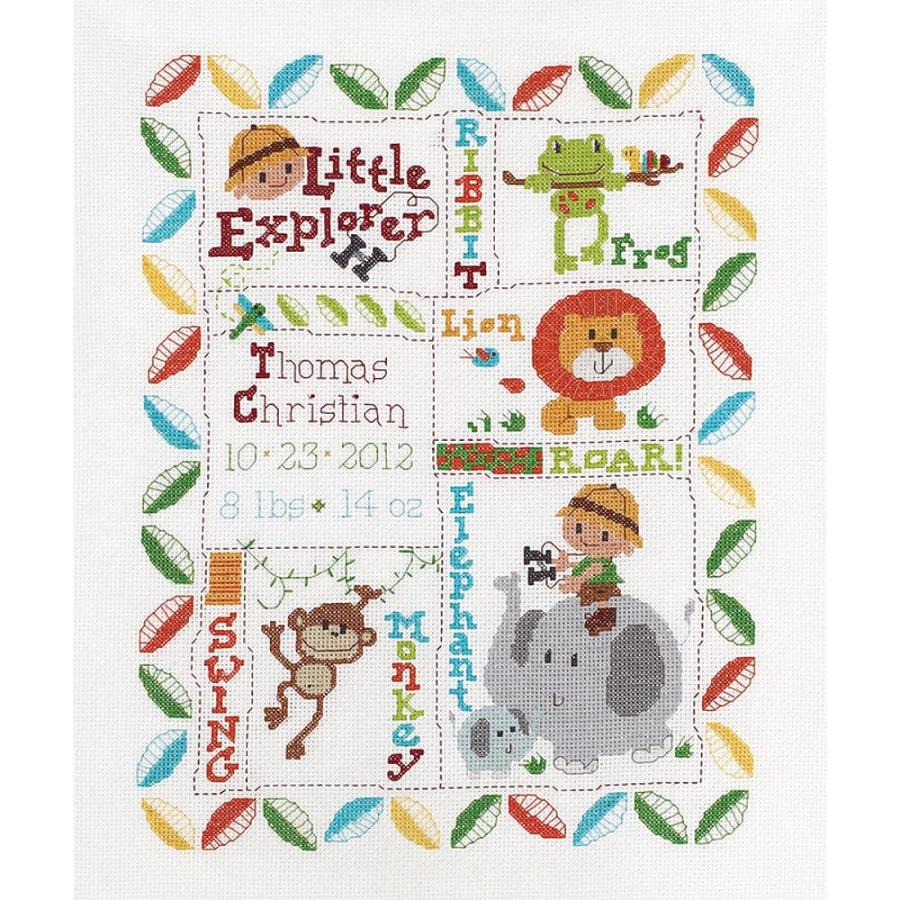 click here to view larger image of LIttle Explorer Birth Record (counted cross stitch kit)