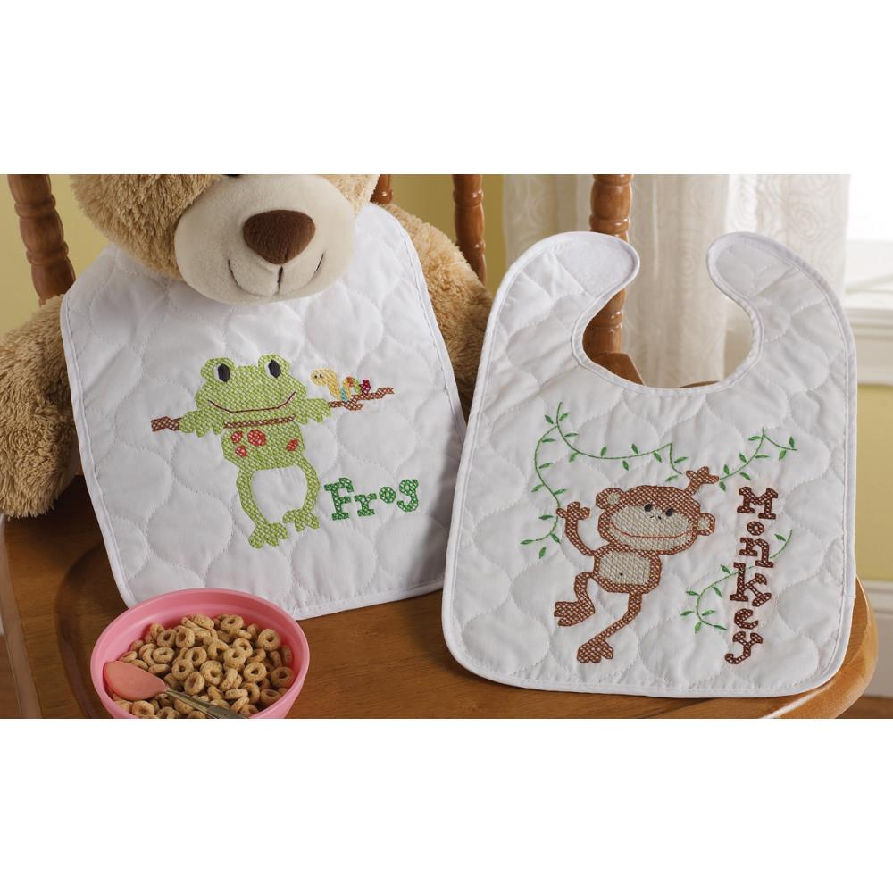 click here to view larger image of Little Explorer Stamped Bib Pair (stamped cross stitch kit)