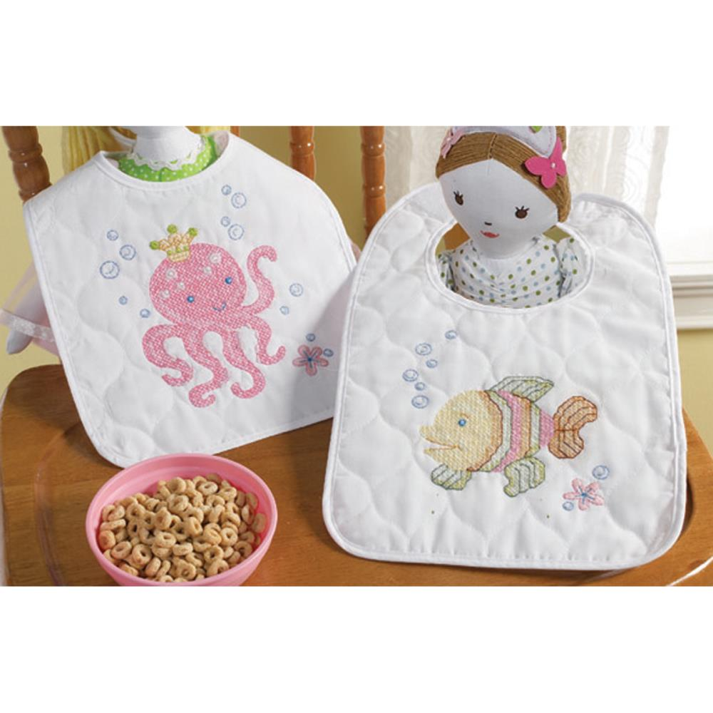 click here to view larger image of Mermaid Bay Stamped Bib Pair (stamped cross stitch kit)