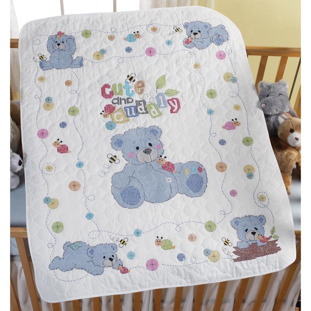 click here to view larger image of Cute & Cuddly Bear Stamped Crib Cover (stamped cross stitch kit)