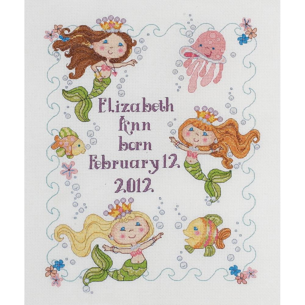 click here to view larger image of Mermaid Bay Birth Record (counted cross stitch kit)