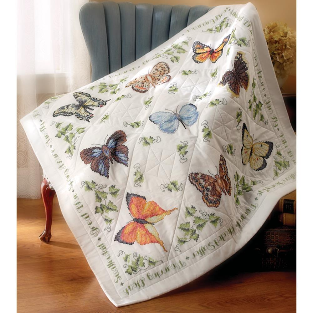 click here to view larger image of Butterfly Collection Stamped Lap Quilt (stamped cross stitch)