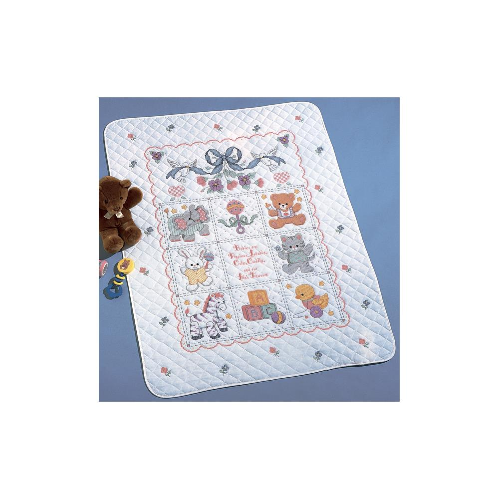 click here to view larger image of Babies Are Precious Stamped Crib Cover (stamped cross stitch kit)