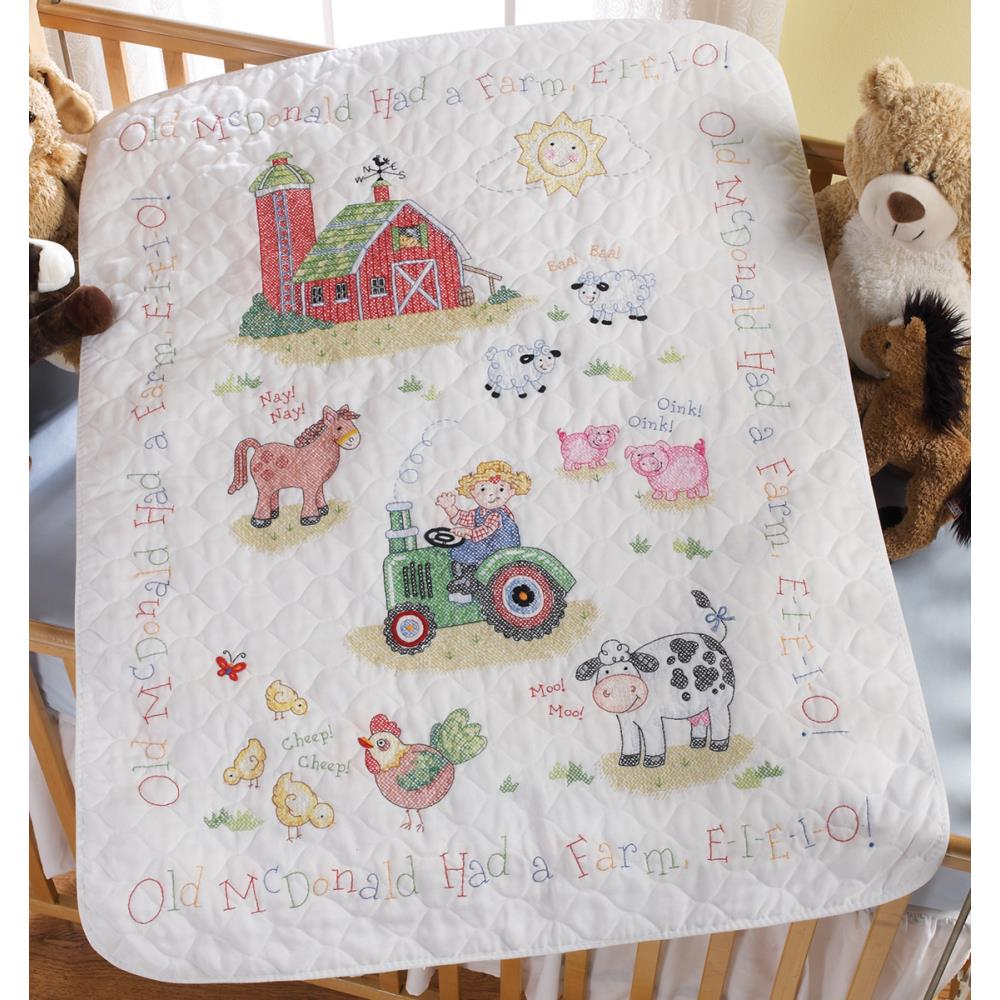 click here to view larger image of On The Farm Stamped Crib Cover (stamped cross stitch kit)