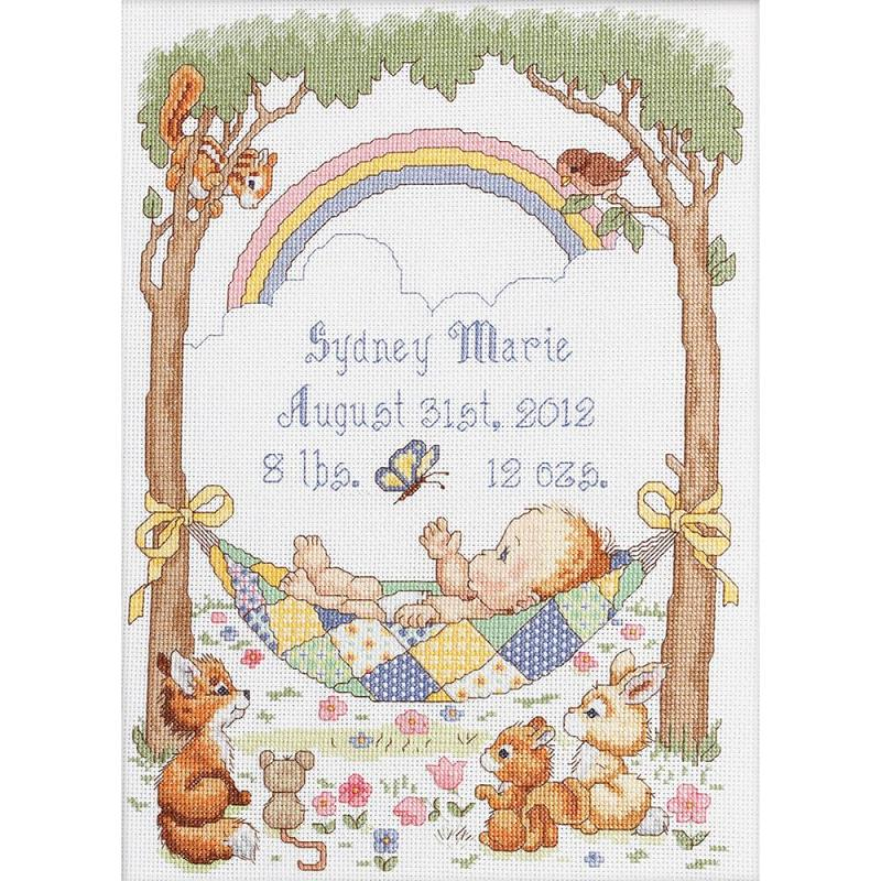 click here to view larger image of Our Little Blessing Birth Record (counted cross stitch kit)