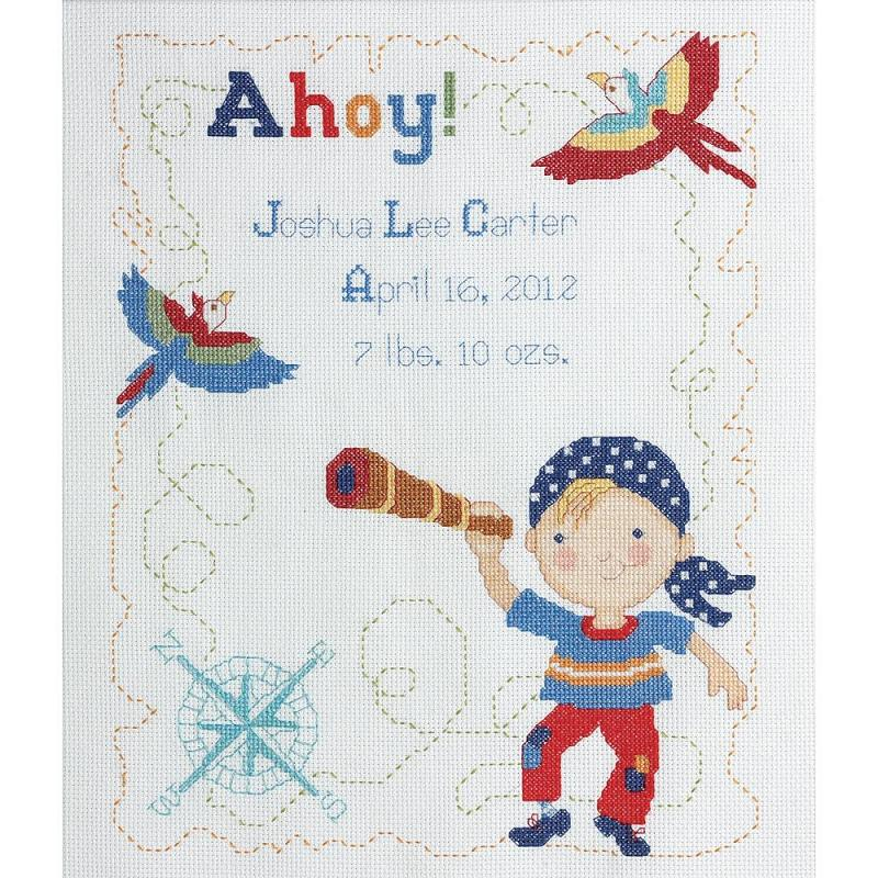 click here to view larger image of Ships Ahoy Birth Record (counted cross stitch kit)