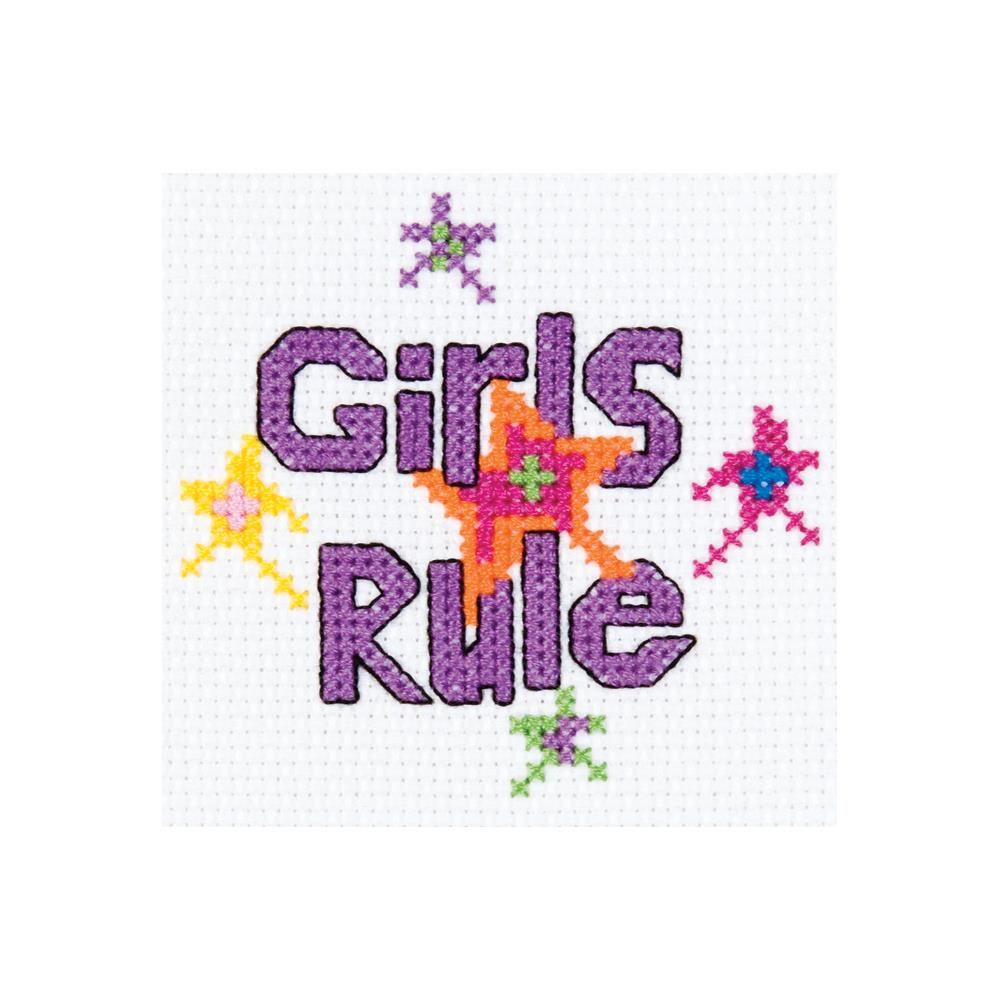 click here to view larger image of My 1st Stitch Girls Rule - Mini Kit (counted cross stitch kit)