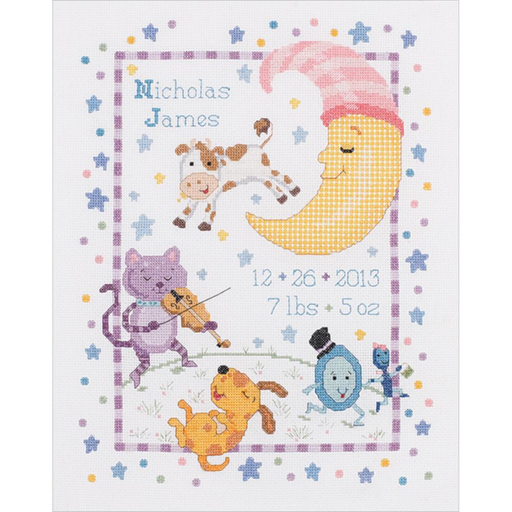 click here to view larger image of Hey Diddle Diddle Birth Record (counted cross stitch kit)