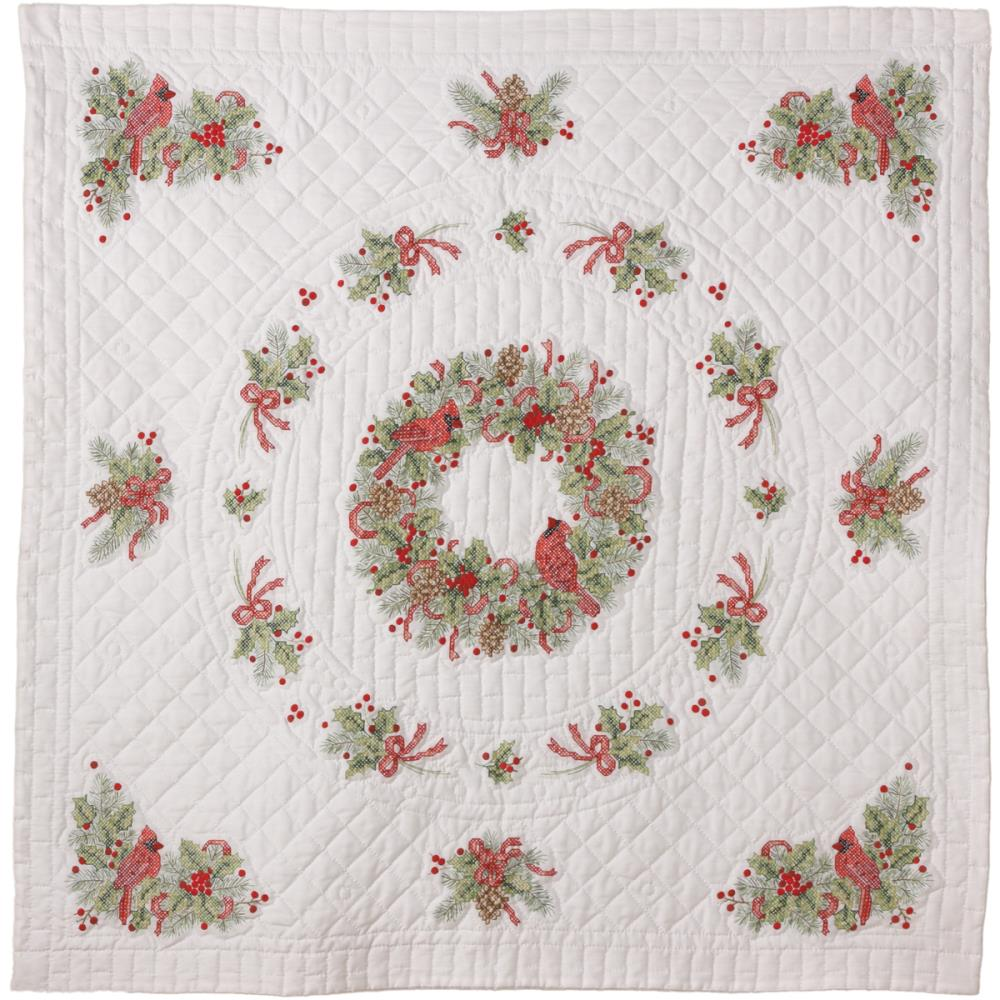 click here to view larger image of Cardinal Stamped Lap Quilt (stamped cross stitch kit)
