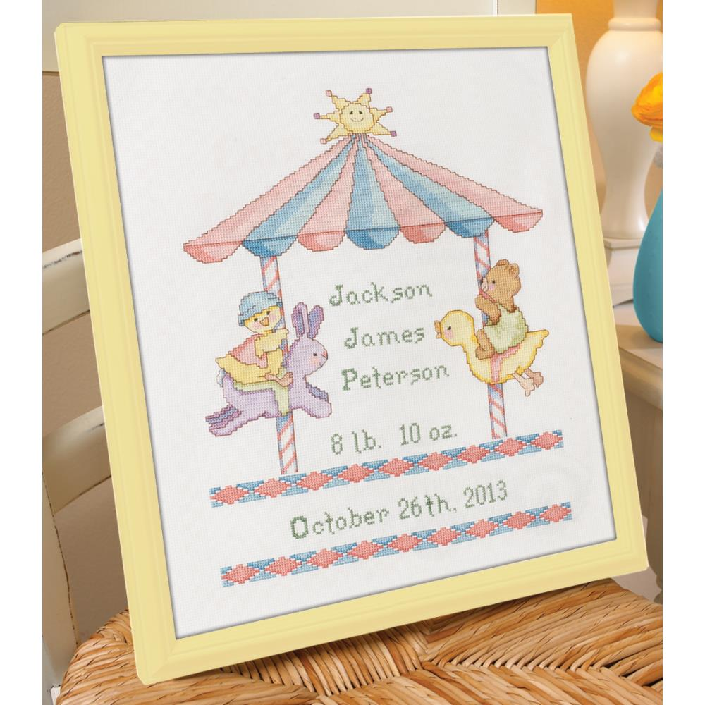 click here to view larger image of Little Carousel  Birth Record (counted cross stitch kit)