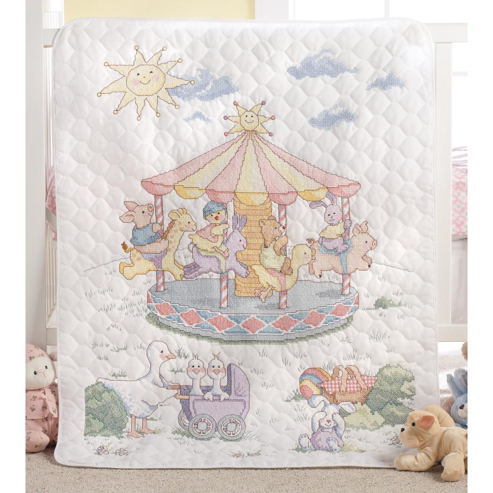 click here to view larger image of Little Carousel Stamped Crib Cover (stamped cross stitch kit)