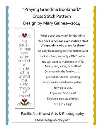 click here to view larger image of Praying Grandma Bookmark (chart)