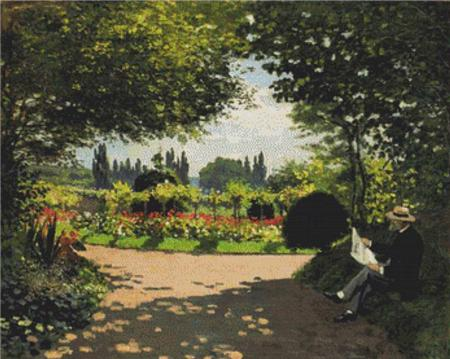 click here to view larger image of Adolphe Monet Reading in the Garden (chart)