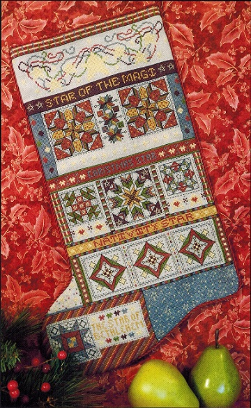 click here to view larger image of Christmas Stars Quilt Stocking (chart)