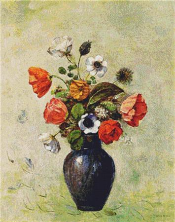 click here to view larger image of Anemones and Poppies in a Vase (chart)
