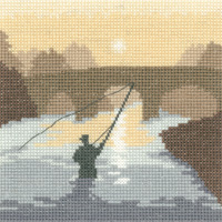 click here to view larger image of Angler, The - Silhouettes (Aida) (counted cross stitch kit)