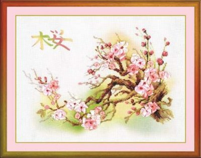 click here to view larger image of Branch of Sakura (counted cross stitch kit)