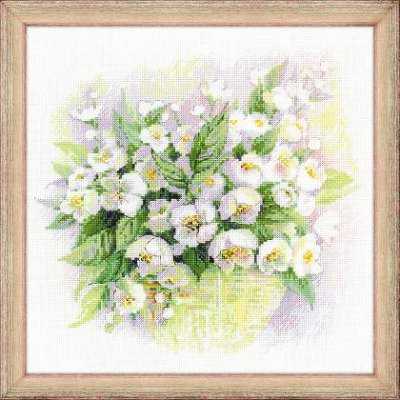 click here to view larger image of Watercolour Jasmine (counted cross stitch kit)