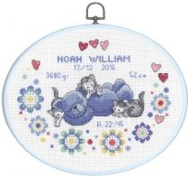 click here to view larger image of Boy Birth Announcement - Oval Hanger (counted cross stitch kit)