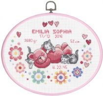 click here to view larger image of Girl Birth Announcement - Oval Hanger (counted cross stitch kit)