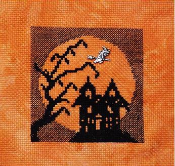 click here to view larger image of Halloween Silhouette 2014 - Haunted House in the Moon (chart with charms/buttons)