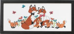 click here to view larger image of Fox Family, The (counted cross stitch kit)