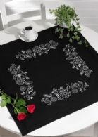 click here to view larger image of White Flowers Table Cloth (stamped cross stitch kit)