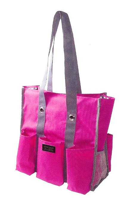 click here to view larger image of Shoulder Tote - Pink and Black with Polka Dots (accessory)