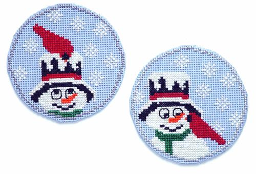 click here to view larger image of Circle Ornaments - Snowman Buddies - Cardinal (chart)