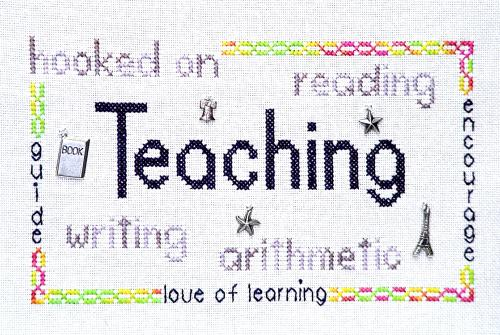 click here to view larger image of Hooked on Teaching (chart with charms/buttons)