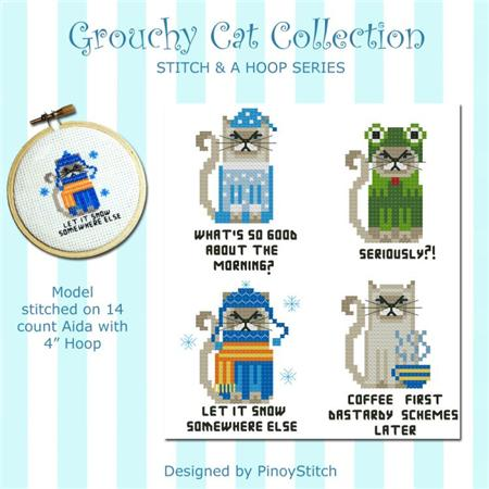 click here to view larger image of Grouchy Cat Collection - Stitch and a Hoop patterns (chart)