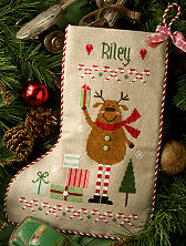 click here to view larger image of Reindeer Stocking (chart with charms/buttons)
