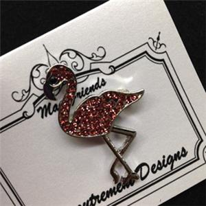 click here to view larger image of Glamorous Flamingo Silver Toned Magnet Set (accessory)