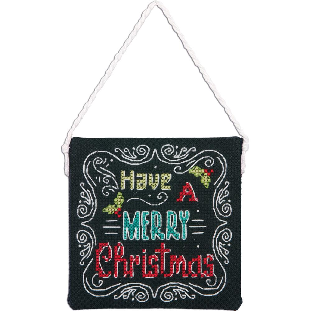 click here to view larger image of Merry Christmas Ornament (counted cross stitch kit)