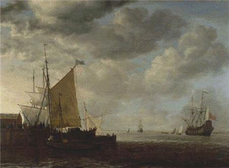 click here to view larger image of A View of an Estuary with Dutch Vessels at a Jetty and a Dutch Man-of-War at Anchor (chart)