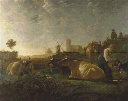 click here to view larger image of A Distant View of Dordrecht, with a Milkmaid and Four Cows (chart)
