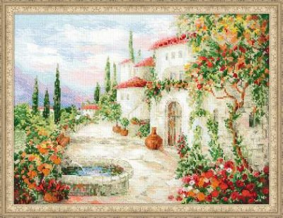 click here to view larger image of At The Fountain (counted cross stitch kit)