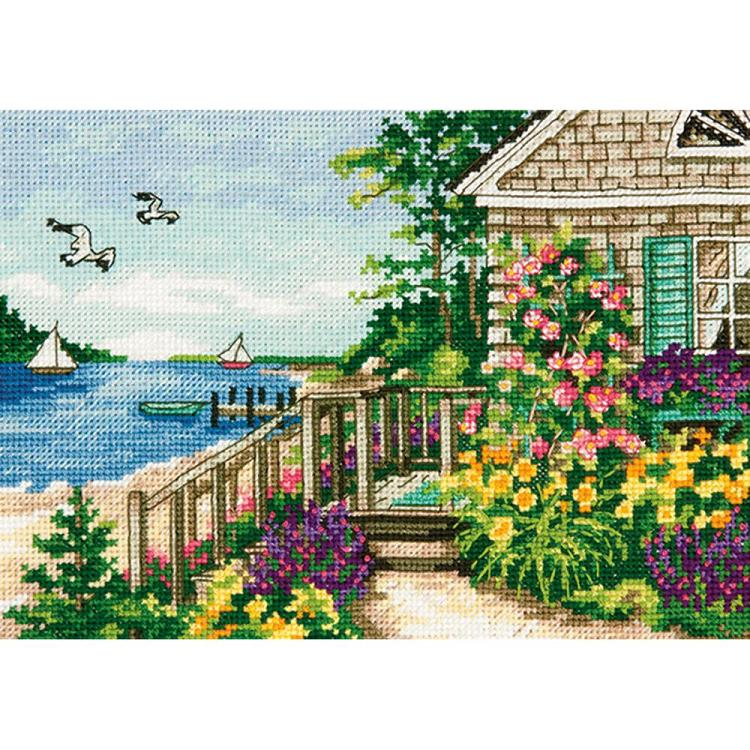 click here to view larger image of Bayside Cottage - Gold Petite (counted cross stitch kit)