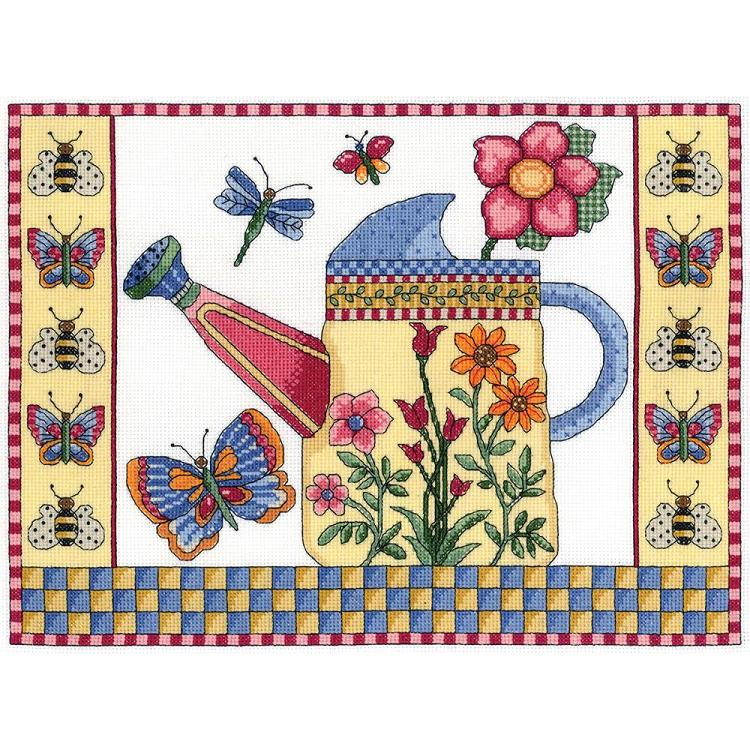 click here to view larger image of Butterfly Watering Can (counted cross stitch kit)