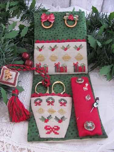 click here to view larger image of Christmas Midnight Sewing Set (chart with charms/buttons)