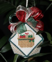 click here to view larger image of Basket with Gifts Biscornu (hand painted canvas)