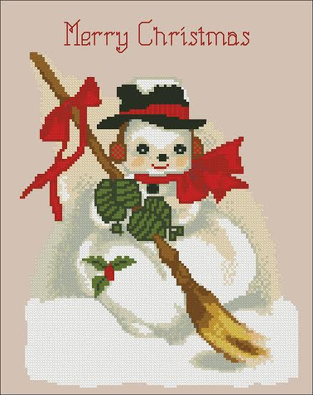 click here to view larger image of Merry Christmas Snowman (chart)